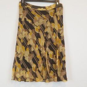 Banana Republic floral 100% silk skirt